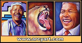 Oil paintings of African Wildlife, Nelson Mandela and oil paintings of flowers.